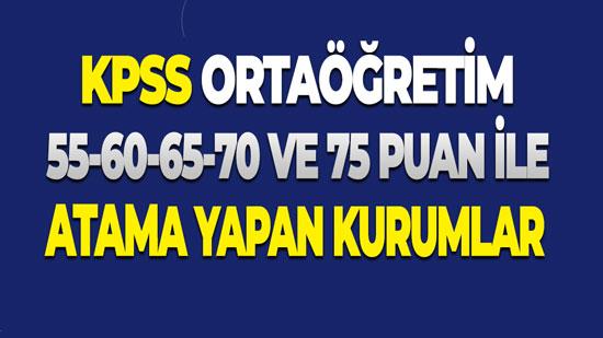 KPSS Ortaöğretim 55-60 Puan Arası Memur Alan Kurumlar (P94 Atamaları)